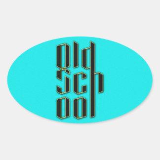 Teal Old School Design Oval Sticker
