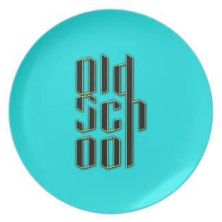 Teal Old School Design Party Plates