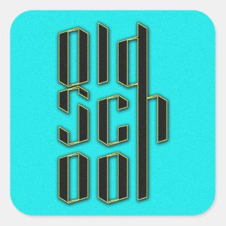 Teal Old School Design Square Sticker