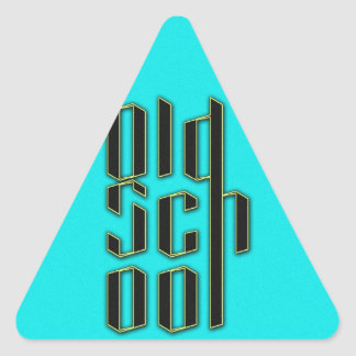 Teal Old School Design Triangle Sticker