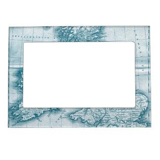 Teal Old World Antique Map Magnet PIcture Frame
