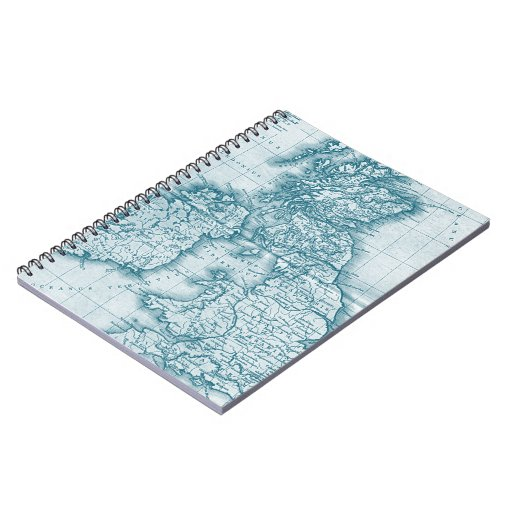 Teal Old World Antique Map Notebook