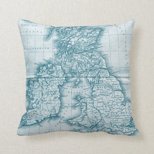 Teal Old World Antique Map Pillow Throw Pillows Zazzle