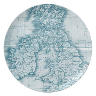 Teal Old World Antique Map Plate