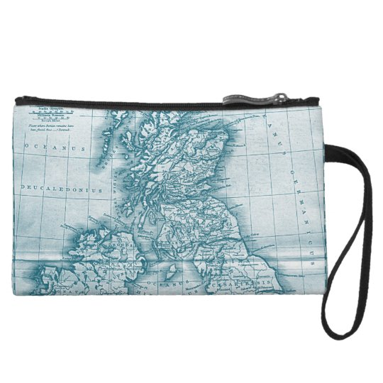 Teal Old World Antique Map Purses and Makeup Bags
