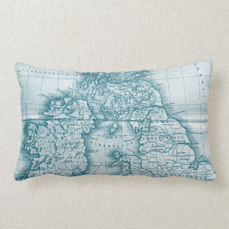 Teal Old World Antique Map Throw Pillow