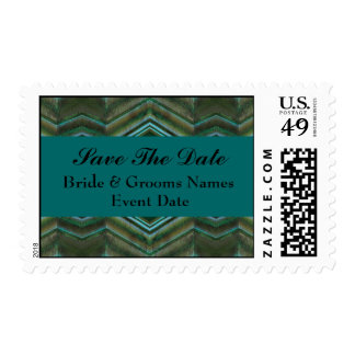 Teal Olive green save the date Postage Stamps