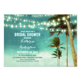 teal ombre beach bridal shower string lights 5x7 paper invitation card