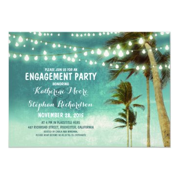jinaiji teal ombre beach engagement party string lights card