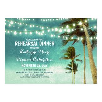 teal ombre beach rehearsal dinner string lights card