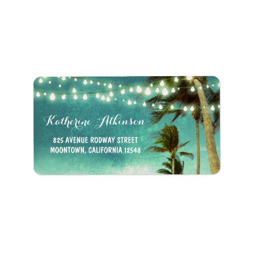 teal ombre beach wedding address labels