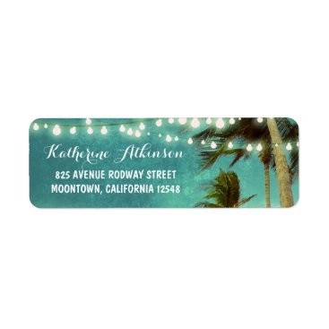 Beach Themed teal ombre beach wedding address labels with palms