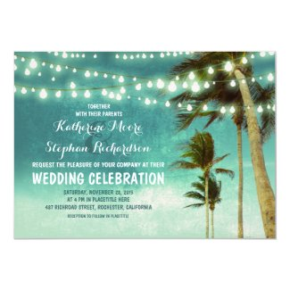 teal ombre beach wedding invitations