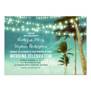 Beach Themed teal ombre beach wedding invitations