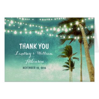 teal ombre beach wedding thank you cards