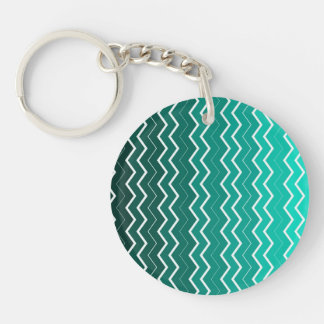 Teal Ombre Chevron Pattern Keychain