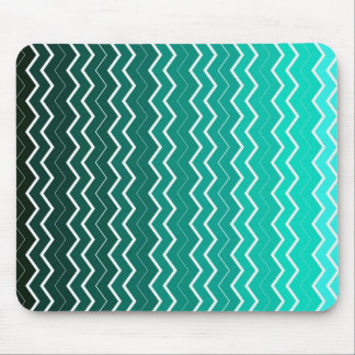 Teal Ombre Chevron Pattern Mouse Pad