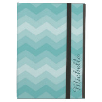 Teal Ombre Chevron Personalized iPad Air Cover