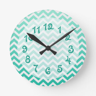 Teal Ombre Chevron Round Wall Clock