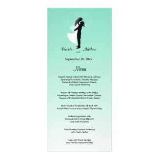 Teal Ombre Customizable Wedding Menu Card