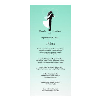 Teal Ombre Customizable Wedding Menu Card Personalized Rack Card