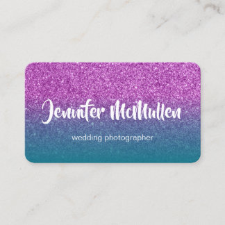 Teal Ombre Purple Glitter Photo Business Card
