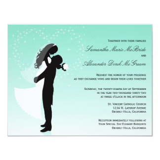Teal Ombre Silhouette Formal Wedding Invite