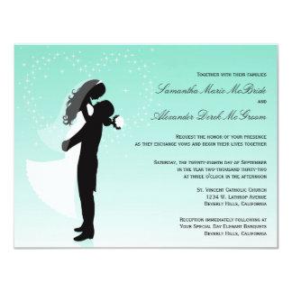 "Teal Ombre Silhouette Formal Wedding Invite 4.25"" X 5.5"" Invitation Card"
