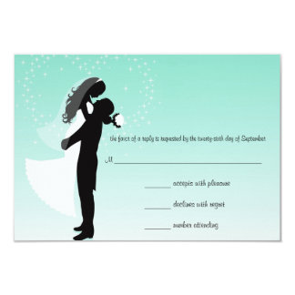 Teal Ombre Silhouette RSVP Response Card