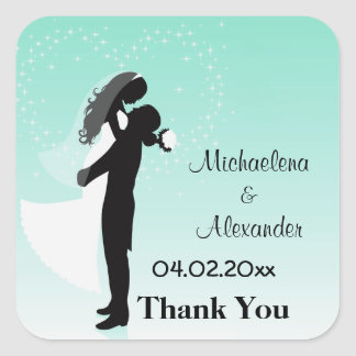 Teal Ombre Silhouette Thank You Sticker
