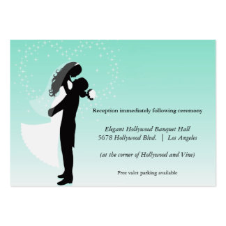 Teal Ombre Silhouette Wedding Reception Card Large Business Card