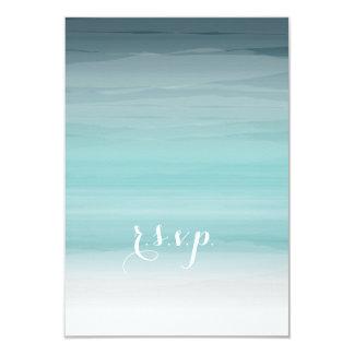 Teal Ombré Wedding RSVP 3.5x5 Paper Invitation Card