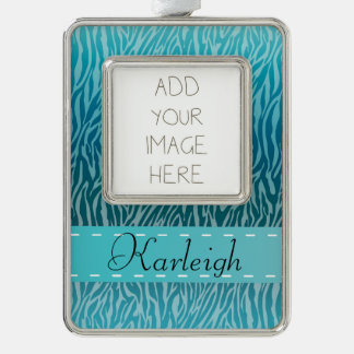 Teal Ombre Zebra print Silver Plated Framed Ornament