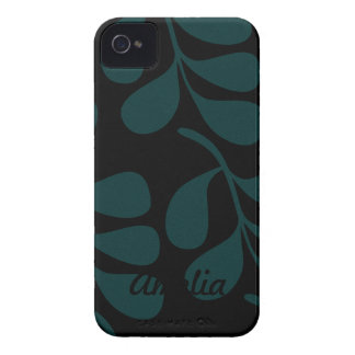 Teal on Black Material Case-Mate iPhone 4 Case