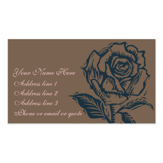 Teal on Brown Woodcut Rose Double-Sided Standard Business Cards (Pack Of 100)