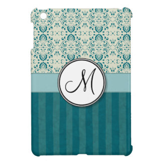 Teal on Cream Damask with Stripes and Monogram iPad Mini Covers