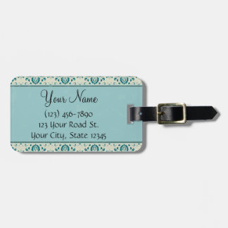 Teal on Cream Damask with Stripes and Monogram Travel Bag Tags