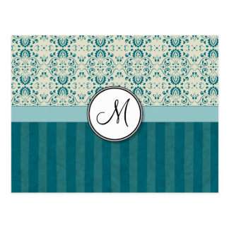 Teal on Cream Damask with Stripes and Monogram Postcard