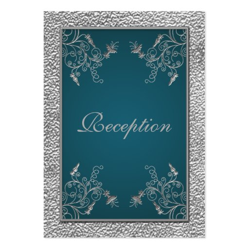 Teal on Pewter Enclosure Card Business Card Template