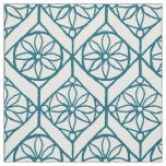 Teal on White Ethnic Pattern, Flowers, Chevrons Fabric