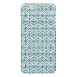 Teal on White Ethnic Pattern, Flowers, Chevrons Glossy iPhone 6 Case