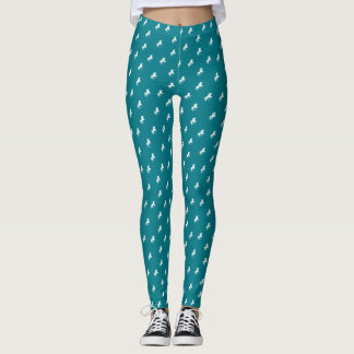 Teal or any Color and White Unicorn Pattern Leggings