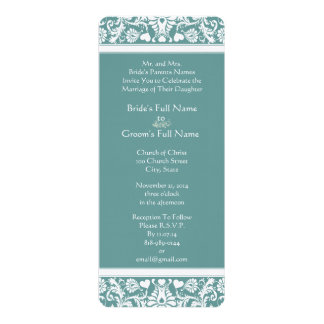 Teal or Any Color Damask Swirls Wedding Invitation