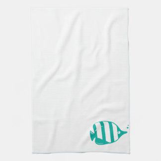 Teal or Turquoise Cartoon Fish Kitchen Towel
