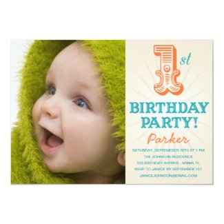 TEAL & ORANGE 1ST | FIRST BIRTHDAY INVITATION