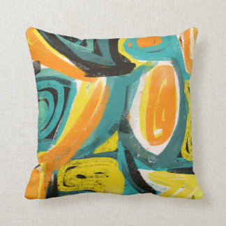 Teal & Orange Abstract Modern Art Pillows