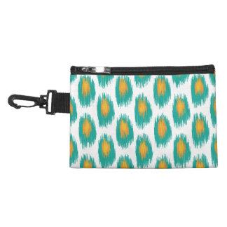 Teal Orange Abstract Tribal Ikat Circle Pattern Accessory Bag