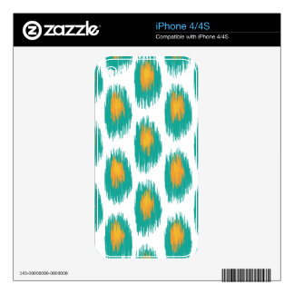 Teal Orange Abstract Tribal Ikat Circle Pattern Decal For iPhone 4