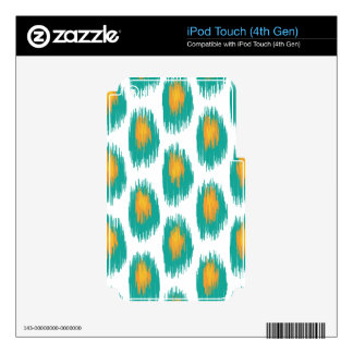 Teal Orange Abstract Tribal Ikat Circle Pattern iPod Touch 4G Skins