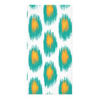 Teal Orange Abstract Tribal Ikat Circle Pattern Photo Card